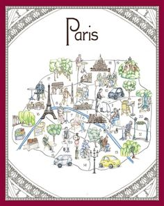 #MusicCooks Charming poster on thick watercolor paper. Capture the flavors of Paris!  #MenusAndMusic