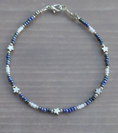 Blue and Silver Flower Anklet by JewelryArtByGail on Etsy