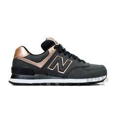 "New Balance ""Precious Metals"" WL574PMR (Charcoal/Bronze) Women's Shoes #NewBalance #AthleticSneakers"