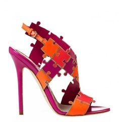 d5fd430719143f Brian Atwood Spring 2014 heels colorful puzzle high heel sandals. Cute Shoes,  Me Too