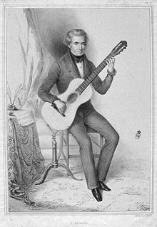 """Dionisio Aguado (1784-1849), Aguado befriended Fernando Sor when the two met in Paris, and Sor composed the duet Les Deux Amis (""""The Two Friends"""") as a dedication to what became an enduring friendship; the parts were marked 'Sor' and 'Aguado', rather than the standard Guitar I and II.    Aguado published a guitar tutor and numerous studies for the amateur guitarist as well as several concert pieces, which required the touch of a virtuoso to perform and some real fretboard gymnastics!"""