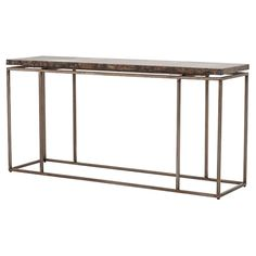 Rollins Industrial Loft Bronze Iron Console Table   Kathy Kuo Home