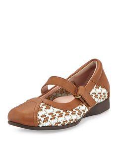 Taryn Rose True Woven Mary Jane Sneaker, White/Tan, Women's, Size: 36B/6B