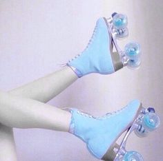 so my friends party theme this weekend is rollerskating? like we're going to a roller rink and everything! but one problem, the last i knew, i couldn't roller skate for s h i t Baby Blue Aesthetic, Retro Aesthetic, Aesthetic Pastel, Roller Derby, Roller Skating, Skating Rink, Roller Rink, Everything Is Blue, Bleu Pastel