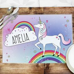 Personalised Kids Unicorn Placemat Our high gloss full colour finish and easy wipe Personalised Kids Placemat and Coaster Set is sure to bring a smile to their face at any meal time. Featuring Unicorn Design design, you can personalise http://www.MightGet.com/january-2017-13/personalised-kids-unicorn-placemat.asp