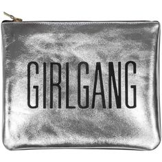 Sarah Baily - Mini Clutch Girlgang Silver ($195) ❤ liked on Polyvore featuring bags, handbags, clutches, accessories, man bag, handbags purses, mini handbags, party clutches and hand bags