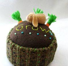 "Pin Cusion - Bunny is a pin so it can ""hop"" through the garden. Sooo cute."