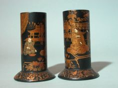 Pair of Spill Vases 1880-1890, decorated with Japanese figures