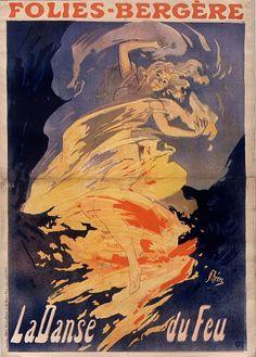 19th cent. french music-hall poster - girl on fire!. Folies-Bergère. La danse du feu [La Loïe Fuller] Artist: Jules Chéret Date: 1897