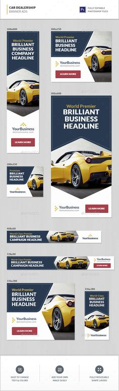 Car Dealership Banner Ads — Photoshop PSD #car #multipurpose • Available here → https://graphicriver.net/item/car-dealership-banner-ads/16300188?ref=pxcr