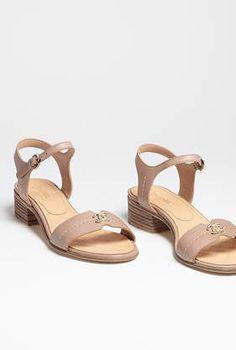 Sandals, calfskin-beige - CHANEL