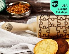Puzzle laser engraved rolling pin embossing rolling pin