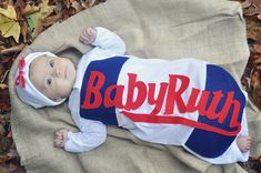 DIY Baby Ruth costume - Really Awesome Costumes #babycostumes #diycostumes Baby Kostüm, Baby Ruth, Dad Baby, Halloween Costumes To Make, Halloween Kids, Infant Halloween, Zombie Costumes, Halloween Couples, Group Halloween