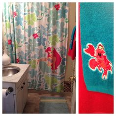My upstairs bathroom! The Little Mermaid my favourite princess! Childrens Bathroom, Bathroom Kids, Little Mermaid Bathroom, The Little Mermaid, Disney Home Decor, Upstairs Bathrooms, Mermaid Style, Disney Inspired, Ariel