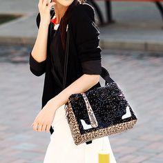 Leopard Pattern Sequins Handbag Shoulder Bag, #Wendybox