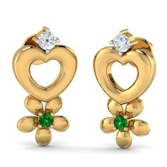 Fleur Heart Studs No girl can resist Jewellery, flowers and hearts and these studs are all that! The emerald stones embedded in the golden floral add a pop of color to the studs.