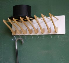 Stock & Hat DIY Coat Hanger Coat Rack-i love this idea! Hanger Hooks, Coat Hanger, Coat Racks, Hook Rack, Wall Hooks, Diy Hooks, Wall Hanger, Diy Hat Rack, Creation Deco