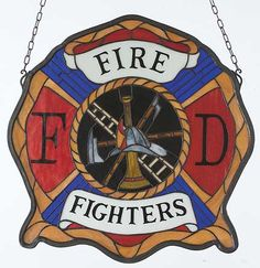 Tiffany Stained Glass Windows, Firefighters Fire Department Art Glass Window