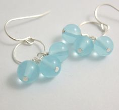 Earrings with a Loop and Round Milky Pale Blue by jewelrybyroz