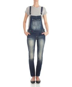 112c41c3d87 Dark Wash Faded Skinny Overalls by WallFlower Jeans  zulily  zulilyfinds  Skinny Overalls