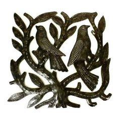 Haitian Steel Drum Tree of Life Sq 8 inch Wall Art - Croix des Bouquets