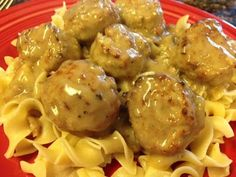 Tasty and (Mostly) Healthy Recipes: Easy Crock-Pot Meatballs and Gravy over Noodles This.