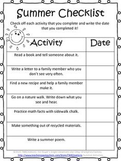 Summer Packets: This summer packet is a fun way to keep math and writing skills sharp over the summer!  In this product you will receive 22 printable worksheets to be made into summer packets to send home with your kiddos!  This product includes:  Cover Page Summer Checklist Summer Writing Prompts Summer A-Z Brainstorming Word Search Proofreading Multiplication and Division Prime or Composite Word Problems  Fractions Perimeter and Area Parts of Speech Ocean Animal Research Acrostic Poem Book…