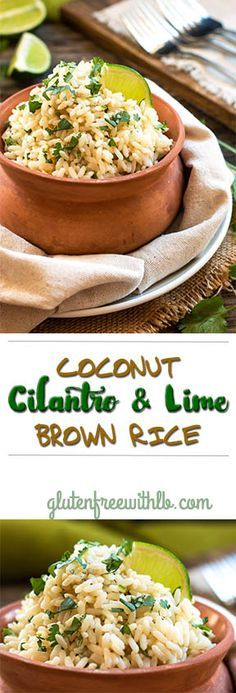 Coconut Cilantro Lime Brown Rice | A gluten free brown rice recipe made in a rice cooker.