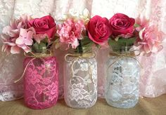 LOVE!! 3 lace covered mason jar vases pink hot pink white wedding, bridal shower deocration