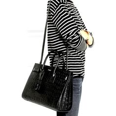 Saint Laurent Medium Sac De Jour croc embossed  excellent condition  measures 14 X 11 X 7 inches  comes with dustbag and shoulder strap  retails for $3900  asking $2020  comment for more information or to purchase this item