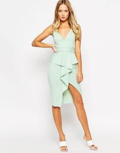 ASOS   ASOS Soft Peplum Wrap With Stitch Detail Belt Dress at ASOS