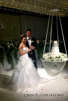 A sensational setting compliments the overwhelming beauty of the bride in her statement Croce and Colosimo wedding gown.