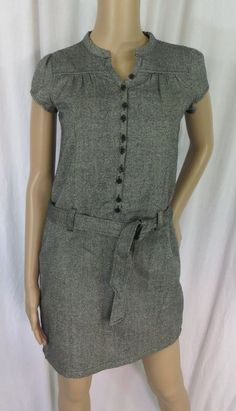 """CHEROKEE"" BUTTON FRONT BELTED SPARKLY GRAY DRESS - PLEASE SEE ALL PICTURES #CHEROKEE"