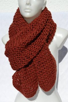 ba3a342692faaf Shawl Knitted scarf Knitted scarf Winter scarf marsala red brown hand  knitted. Schal Tuch ...
