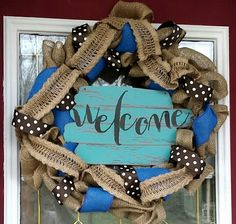 Burlap and blue welcome wreath