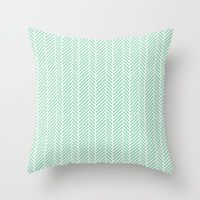 Throw Pillows featuring Herringbone Mint Inverse by Project M