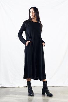 Sinead Smock Dress - Morph Knitwear Fall/Winter 2017  Heavy linen smock dress knit in lustrous black linen. Long sleeves, relaxed A-line fit, side seam pockets. ...
