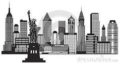 New York City Skyline Black and White Illustration Vector