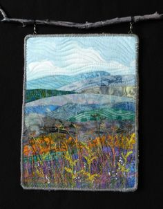 Cowee Mountain Overlook by Eileen Williams. Samll art quilt from a photo taken along the Blue Ridge Parkway.