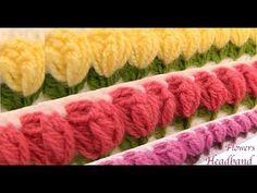 Diadema tejida con Gancho Crochet paso a paso con flores tulipanes 3d tejido tallermanualperu - YouTube