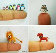 Crochet Animal Amigurumi Free Patterns - Miniature Crochet Penguins, Owl, Lion, Dog