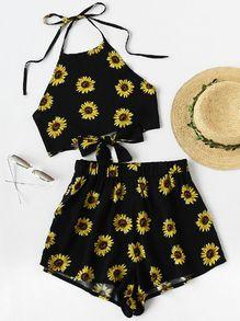 Chrysanthemum Print Random Knot Open Back Top With Shorts