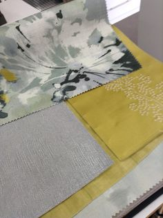 Sanderson Fabrics - from the Aegean Collection - Simi Grey Pearl - Sparkle Coral Linden - Thea Eggshell ... stunning mix of design.