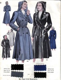 Oh for a raincoat as fashionable as this!  | via WardStilsonRain40s2 by annamouse, via Flickr