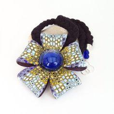 Купить Двусторонний кулон из полимерной глины BLOSSOM - синий кулон, кулон в форме цветка Polymer Clay Flowers, Polymer Clay Jewelry, Handmade Jewelry, Crafts, Projects, Image, Polymer Clay, Log Projects, Manualidades