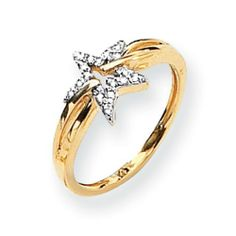 14k Diamond Star Ring Diamond quality AA (I1 clarity, G-I color) Jewelry Adviser Rings. $375.60