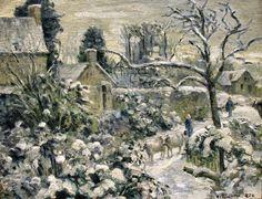 Camille Pissarro 1830 - 1903 Snowscape with Cows at Montfoucault, 1874