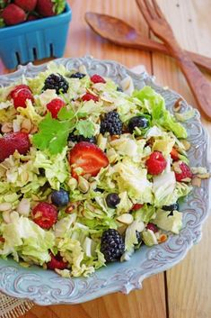 You can also serve this colorful berry filled Napa cabbage salad with grilled chicken for dinner or maybe with a slice of quiche.
