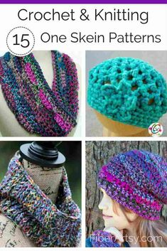 Fun & Free knitting and crochet patterns using One Skein of Yarn. This listing includes patterns for Knit or Crochet hats, gloves, scarves and a basket. One Skein Crochet, Learn To Crochet, Crochet Hooks, Free Crochet, Crochet Scarves, Crocheted Hats, Freeform Crochet, Knitting Yarn, Free Knitting
