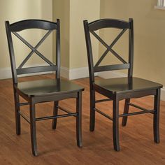 Country Cottage Black Fabric Wood Finish Accent Dining Chair Set Design Décor